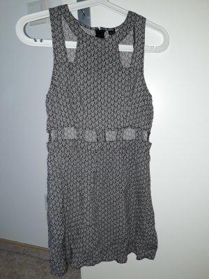 H&M Divided Cut out jurk zwart-wit Katoen