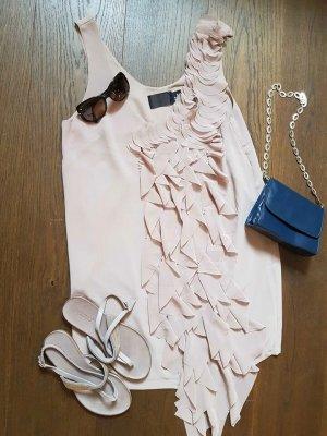 H&M Basic Sukienka z rękawem balonowym nude Poliester