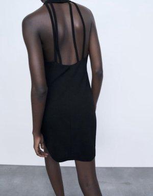 Zara Sukienka z dekoltem typu halter czarny
