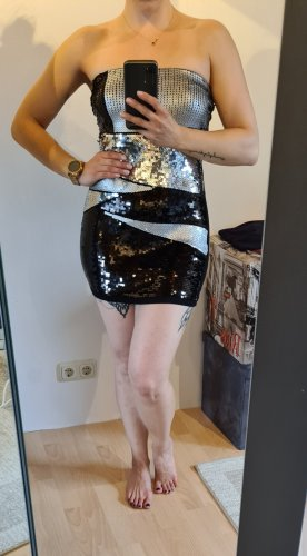 Jennifer Taylor Vestido de lentejuelas negro-color plata