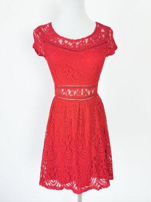 minikleid rot Sommer Spitze