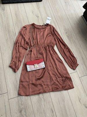 Minikleid Satin seide silk braunrot Kleid von Zara Gr. S