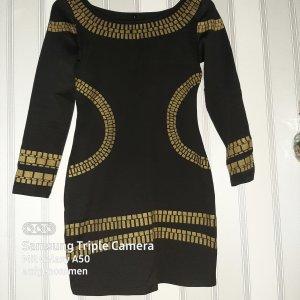 .Onorati Mini vestido negro-color oro