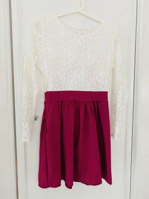 Minikleid sixtys Rüschen pink weiß Schleife