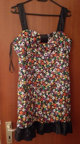 Minikleid Sommerkleid Satinkleid Mini Sommer Satin Kleid Blümchen Blumen