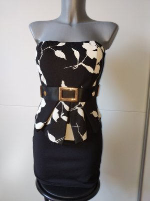 Sukienka z baskinką Wielokolorowy