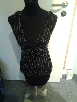 Minikleid/Top - mit Fransen - tolle Rückenoptik - schwarz/weiß gestreift - Größe S/M