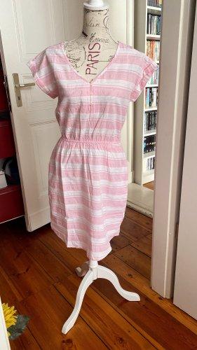 Minikleid V-Neck Gr. 36 rosa weiß gestreift reine Baumwolle neu