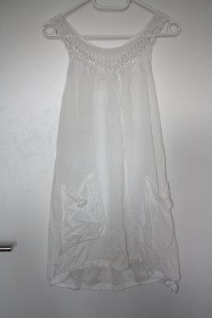 no name Sukienka z rękawem balonowym biały Bawełna