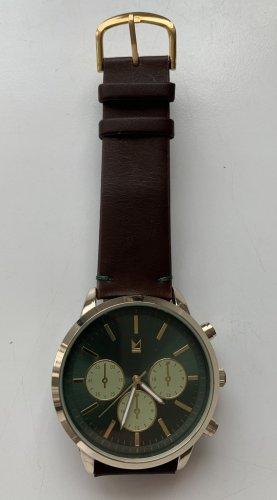 Minimalistische Uhr braun / grün