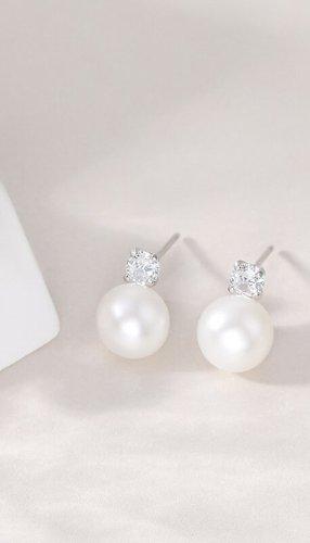 Minimalistischer Perlen Ohrringe Ohrstecker aus 925 Sterling Silver und echte Süßwasser Perlen