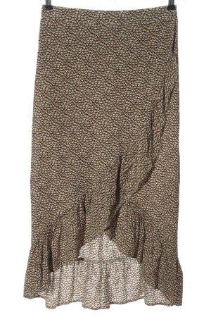Minimum Jupe asymétrique crème-noir motif abstrait style décontracté