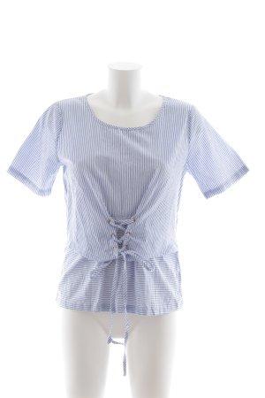 Minimum Blouse topje wit-korenblauw gestreept patroon casual uitstraling