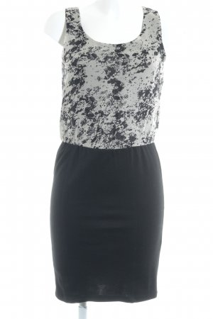 Minimum Cocktailkleid schwarz-hellbeige abstraktes Muster Casual-Look