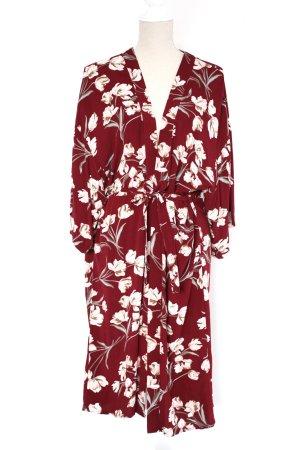 minimum Kleid Kimono Midikleid 38 braun rostbraun weiß floral geblümt