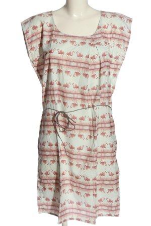 Minimum Vestido de manga corta marrón-blanco look casual