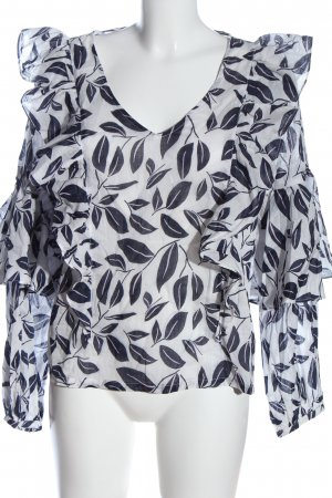 Minimum Langarm-Bluse weiß-blau Allover-Druck Business-Look