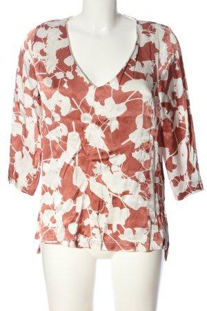 Minimum Langarm-Bluse braun-weiß Allover-Druck Casual-Look