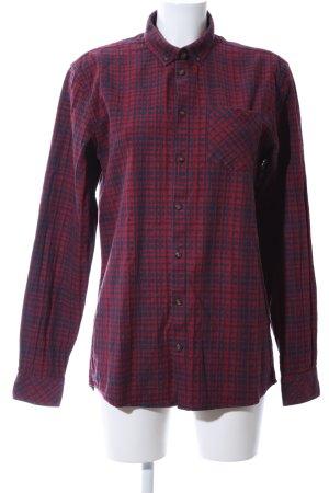 Minimum Langarmhemd rot-blau Allover-Druck Casual-Look