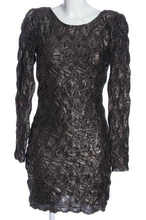 Minimum Langarmkleid schwarz-silberfarben abstraktes Muster Glanz-Optik