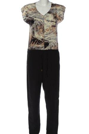 Minimum Langer Jumpsuit schwarz-wollweiß abstraktes Muster Casual-Look