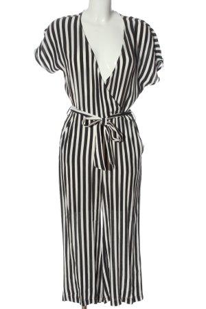 Minimum Langer Jumpsuit noir-blanc motif rayé style décontracté
