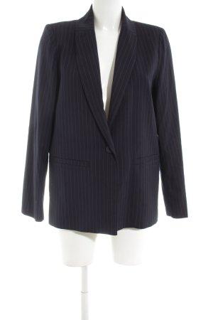 Minimum Long-Blazer schwarz-silberfarben Streifenmuster Business-Look