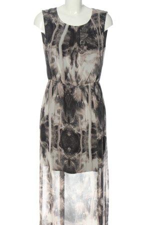 Minimum Vestido camisero negro-gris claro estampado con diseño abstracto