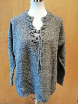 Minimum Pullover grau mit Schnürung in Gr. M Wolle