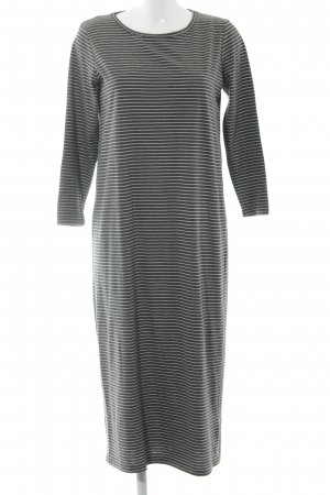Minimum Pulloverkleid grau-weiß Streifenmuster Casual-Look