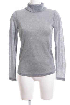 Minimum Camisa de cuello de tortuga gris-color plata moteado brillante