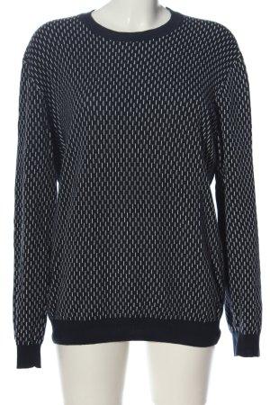 Minimum Rundhalspullover schwarz-weiß Allover-Druck Casual-Look
