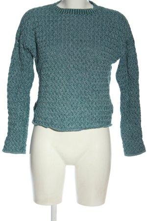 Minimum Jersey de cuello redondo turquesa Patrón de tejido look casual