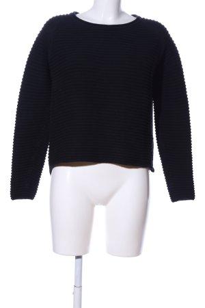 Minimum Rundhalspullover schwarz Streifenmuster Casual-Look