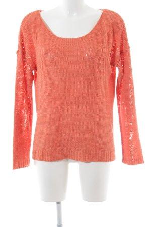 Minimum Rundhalspullover orange Lochstrickmuster Casual-Look