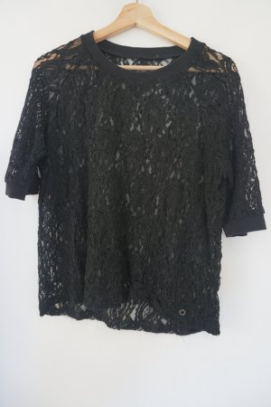 Minimum Spitzen-Shirt schwarz