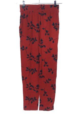 Minimum Pantalon en jersey rouge-noir motif de fleur style décontracté