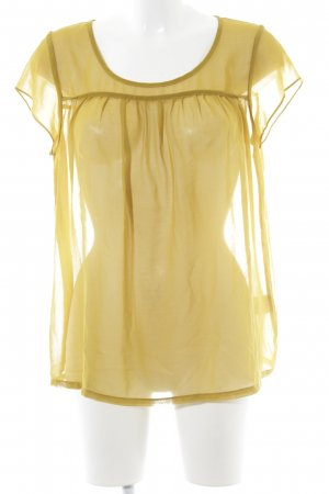 Minimum Transparenz-Bluse limettengelb-ocker Romantik-Look