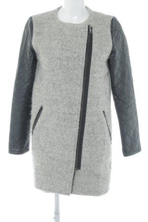 Minimum Manteau en laine gris clair-noir Éléments en cuir