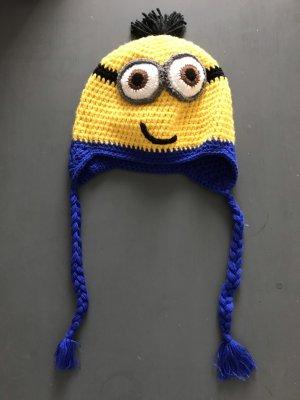 Bonnet en crochet jaune-bleu