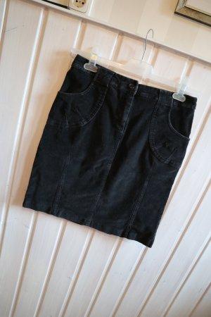 Minirock Cord 5 Pocket verwaschenes Schwarz