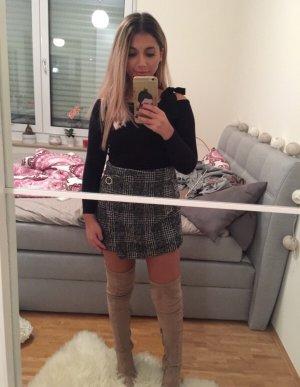 Gebreide rok zwart-donkergrijs