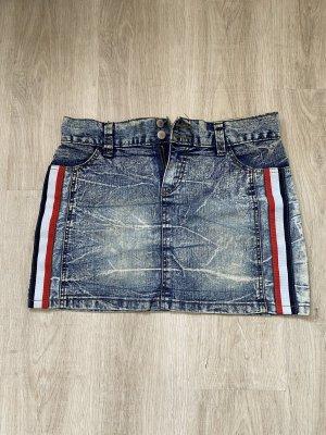 Minirock Jeans, L, mit Streifen rot weiß
