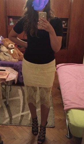 Glamorous Falda de encaje amarillo claro