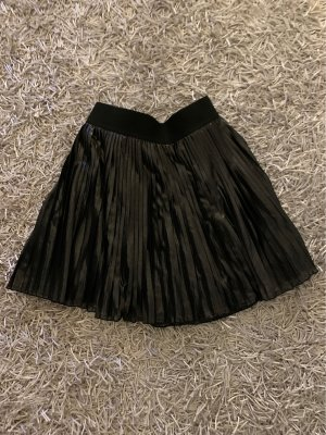Minirock Plissee schwarz glänzend
