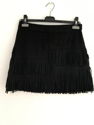 Zara Trafaluc Fringed Skirt black imitation leather