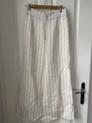 Ministry of Style Lniane spodnie czarny-w kolorze białej wełny