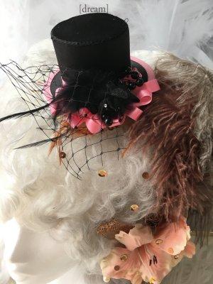 Cappello a cilindro nero-rosa