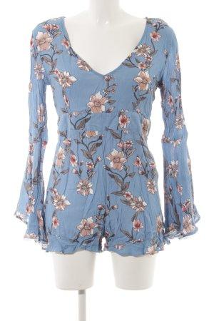 Minkpink Jumpsuit kornblumenblau-rosé Blumenmuster schlichter Stil