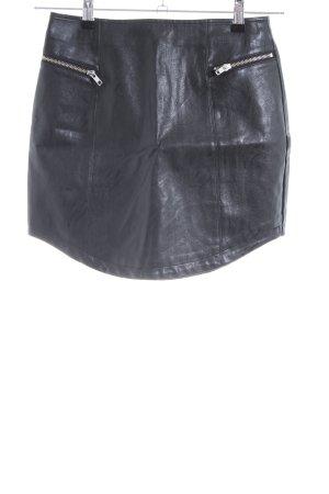 Minkpink Falda de cuero de imitación negro tejido mezclado